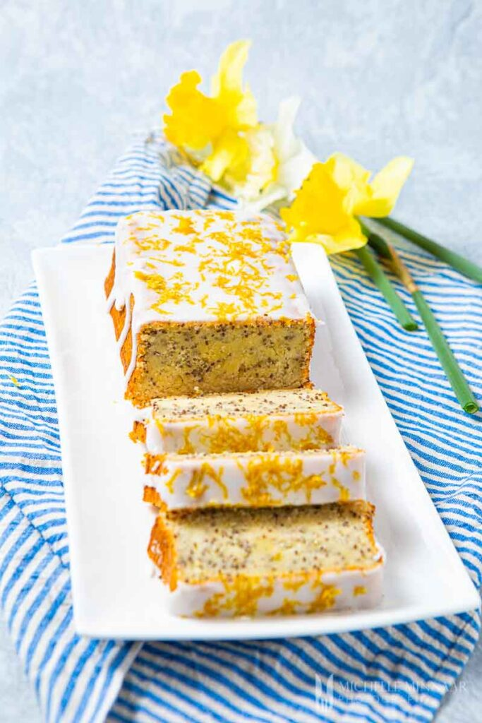 Chia cake covered in white frosting
