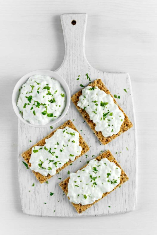 Cottage cheese on slices of toast