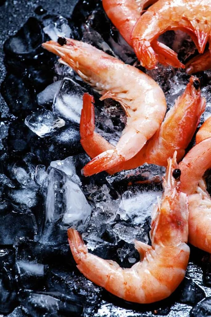 Large prawns defrosting on ice