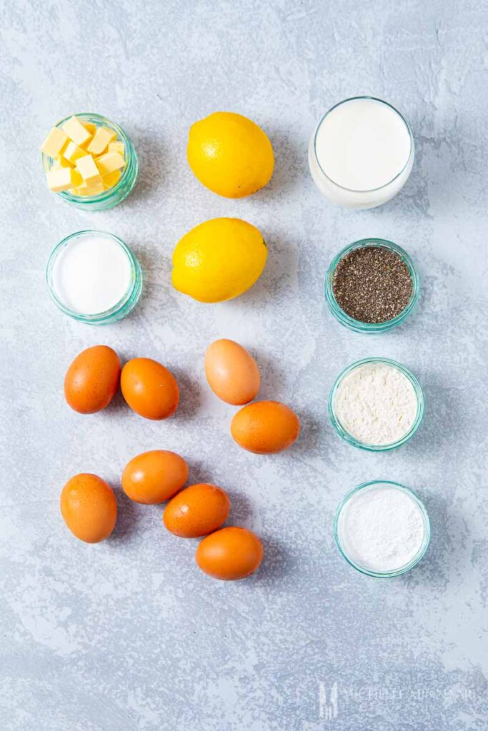Ingredients to make chia seed cake