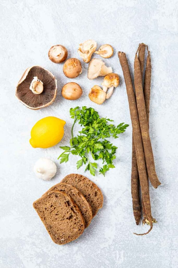 Ingredients to make mushroom on toast
