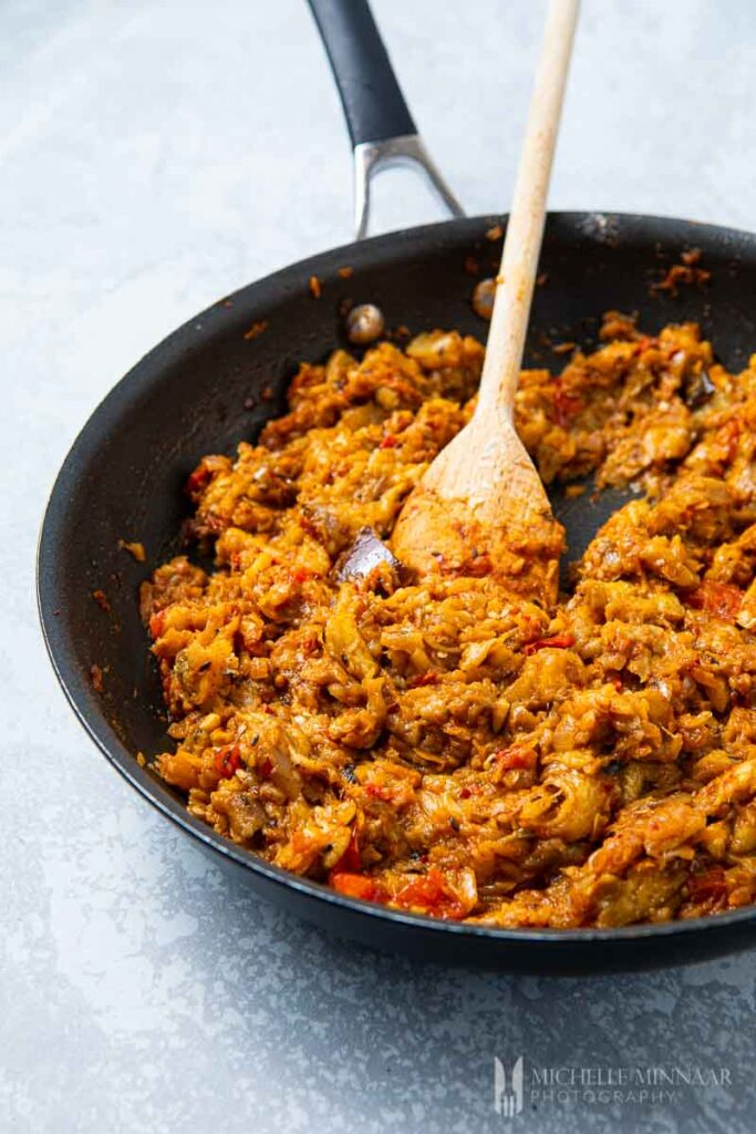 Spicy eggplant in a pan