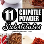 four photos of different types of chipotle powder substitutes