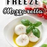 Three Mozzarella Balls in a bowl with basil and tomato