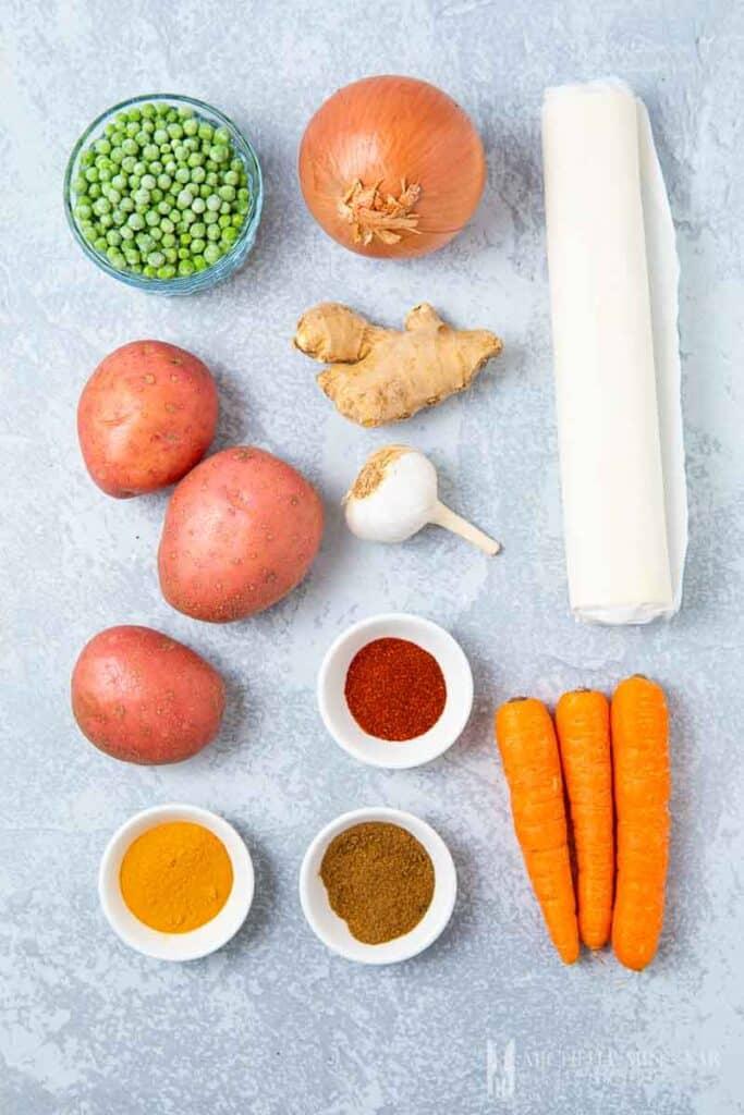 Ingredients to make veggie puffs