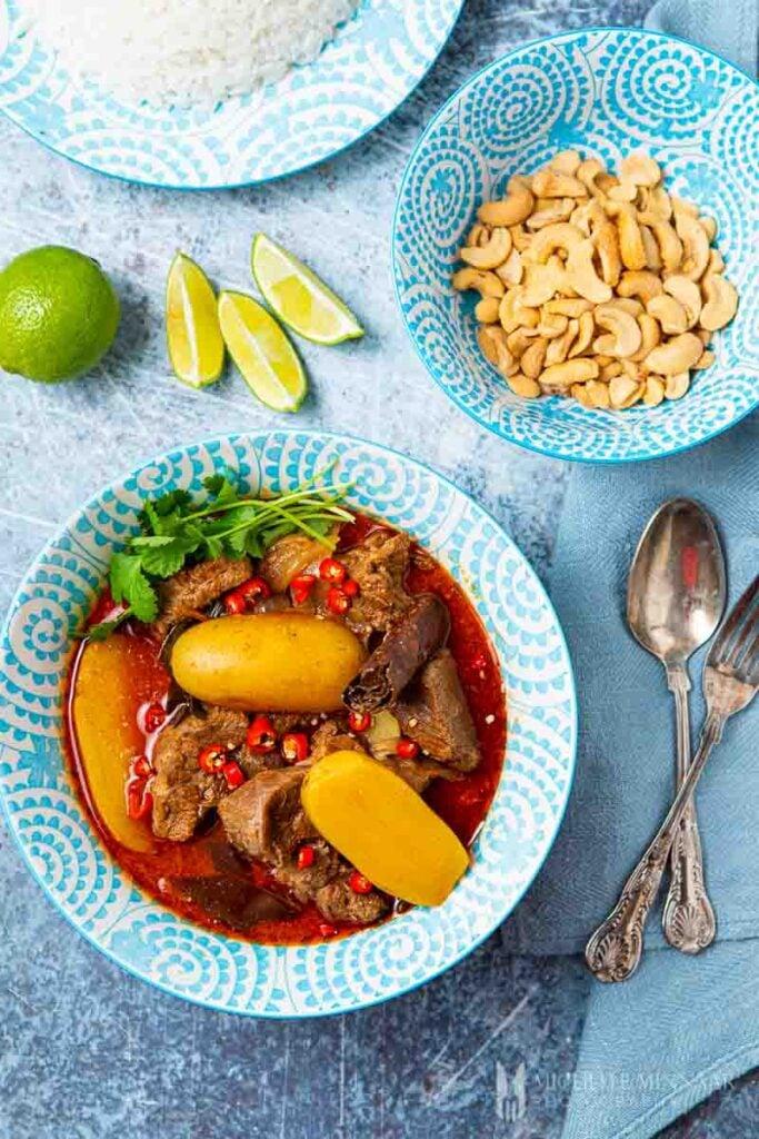 Bowl of lamb massaman curry
