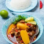 Close up of lamb curry and bowl of white rice
