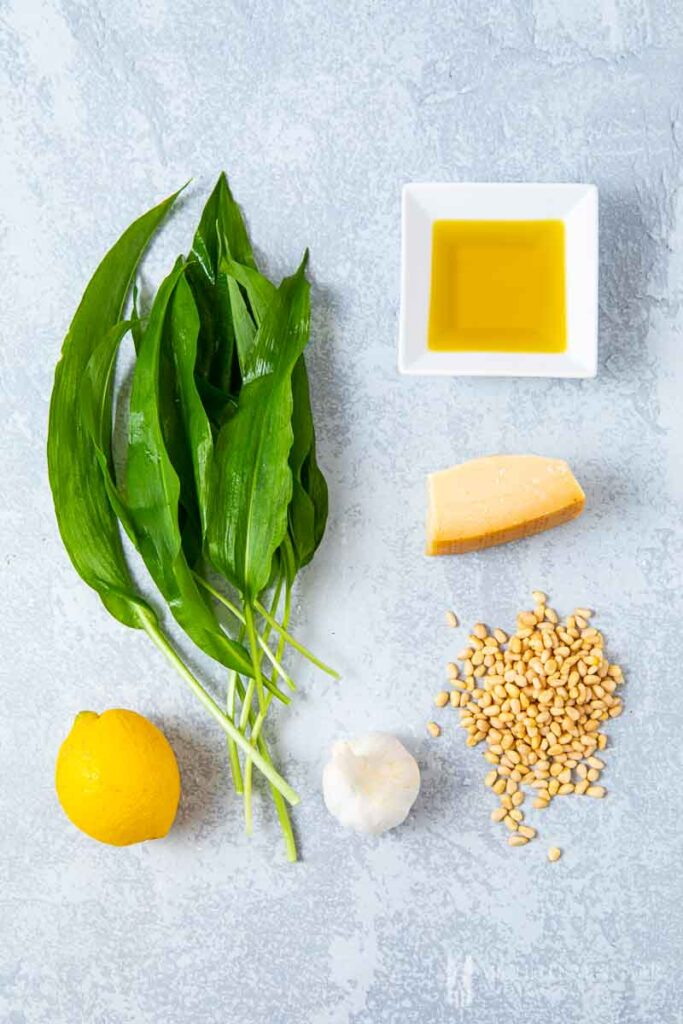 Ingredients to make wild garlic soup