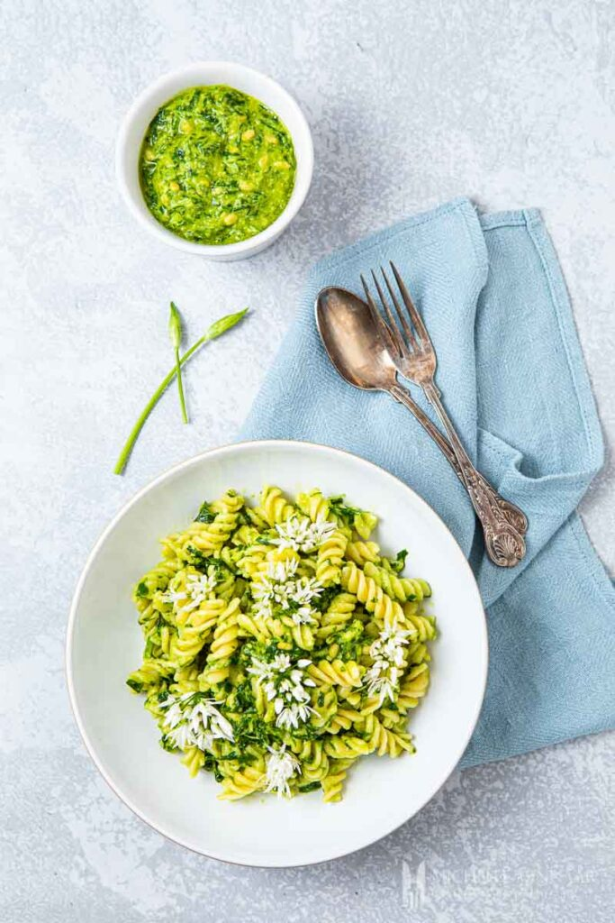 Bowl of pasta with wild garlic pesto sauce