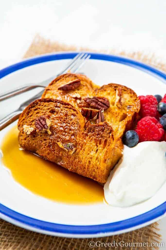 Slice of brioche French toast casserole