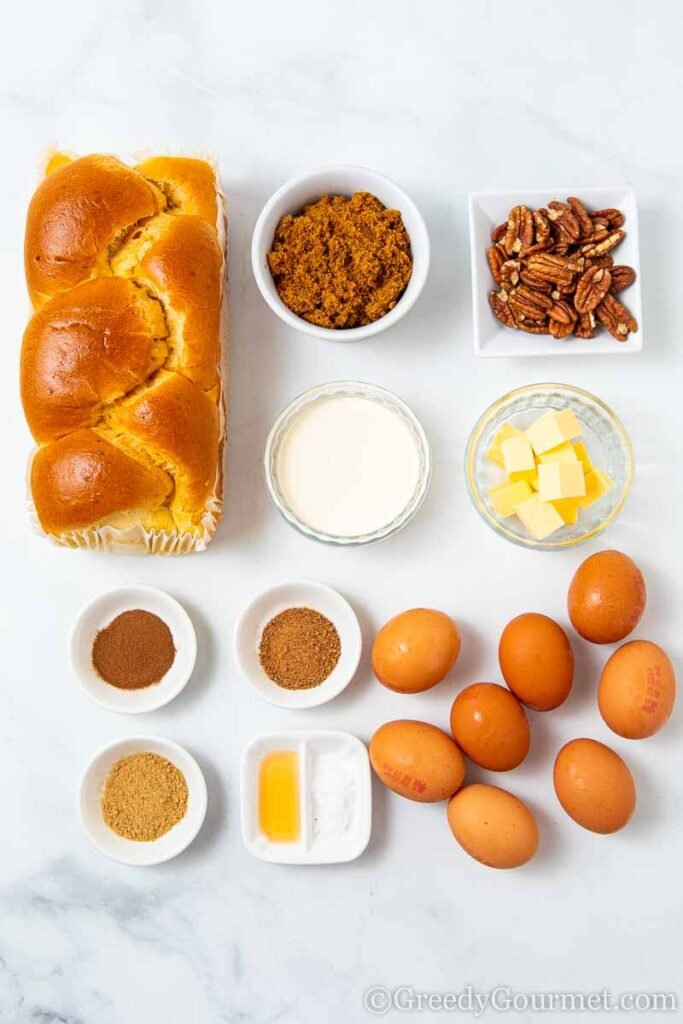 Ingredients to make an overnight French toast casserole
