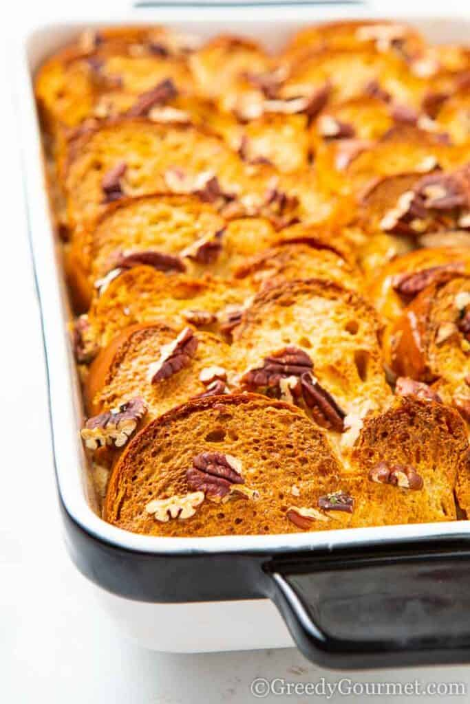 Close up of a baked french toast breakfast