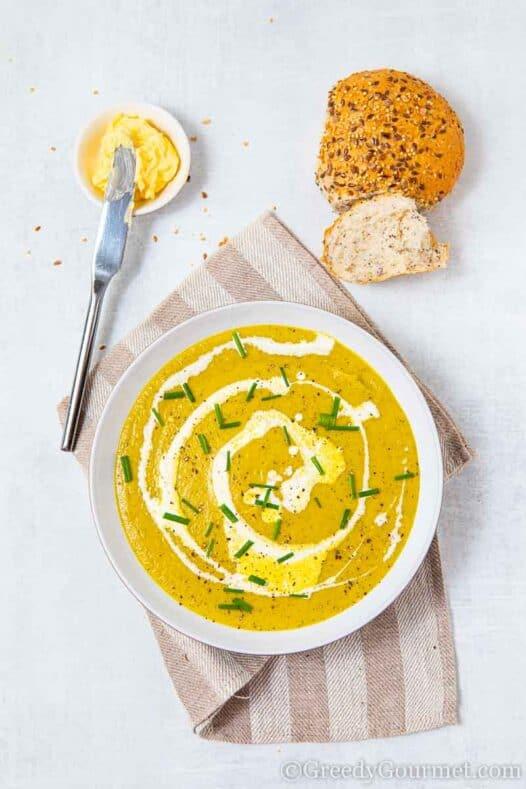 Bowl of warm marrow soup
