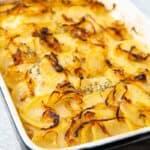 Baking dish full of potatoes