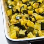 Roast marrow in a baking pan