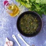 Bowl of a chermoula recipe, a moroccan chermoula