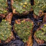 Close up of grilled lamb loin chops