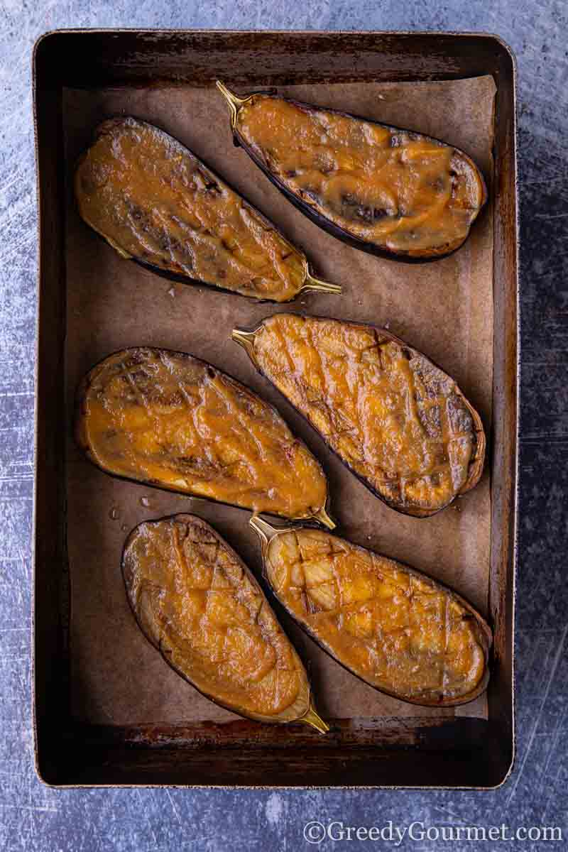 miso grilled eggplant in a sheet pan